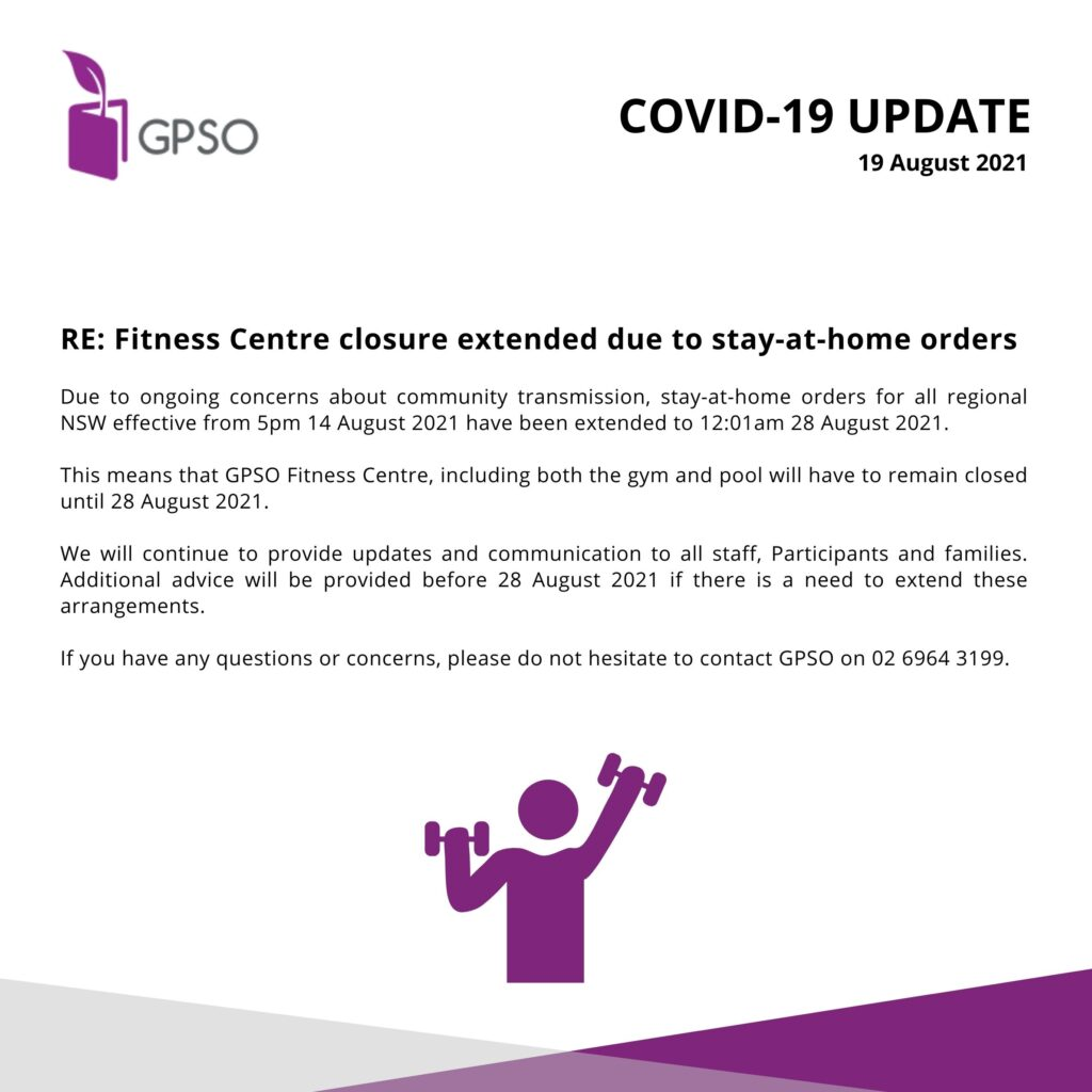 Fitness Centre Update - 19 August 2021 -